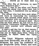 Newspaper Clipping– Clipping from the Renfrew Mercury for 21 March 1919 mentionning the character and death of Lieutenant Wilgress.