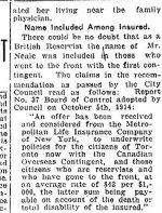 Newspaper Clipping (2 of 3)– Part 2 of a clipping from the Toronto Star for 20 March 1915.