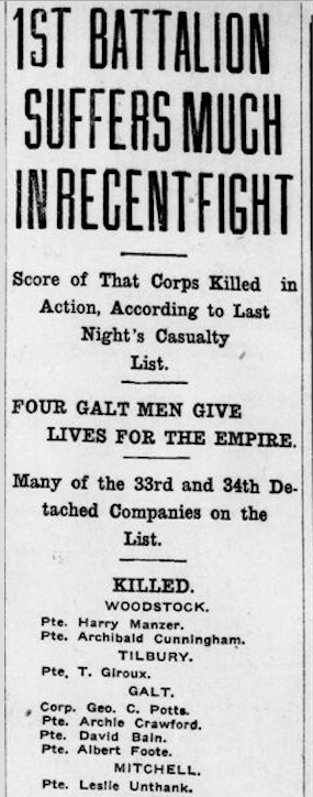Newspaper clipping– From the London Free Press October 1915. Submitted for the project Operation Picture Me.