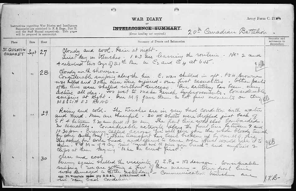 20th Battalion - War Diary