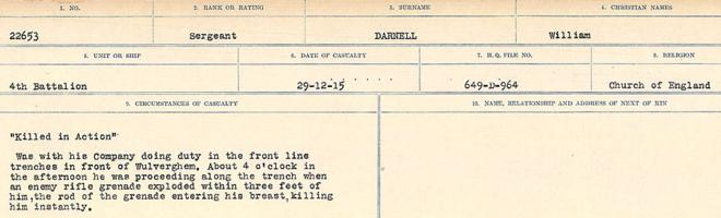 Circumstances of death registers– Source: Library and Archives Canada. CIRCUMSTANCES OF DEATH REGISTERS, FIRST WORLD WAR Surnames: Dack to Dabate. Microform Sequence 26; Volume Number 31829_B016735. Reference RG150, 1992-93/314, 170. Page 467 of 1140.