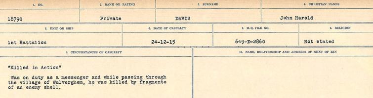 Circumstances of death registers– Source: Library and Archives Canada. CIRCUMSTANCES OF DEATH REGISTERS, FIRST WORLD WAR. Surnames: Dack to Dabate. Microform Sequence 26; Volume Number 31829_B016735. Reference RG150, 1992-93/314, 170. Page 1027 of 1140.