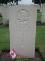Grave marker– Grave Marker in St. Quentin Cabaret Military Cemetery, Belgium Photo courtesy of J. Elliott/J. Rutledge, The Men of Huron WW1 Project