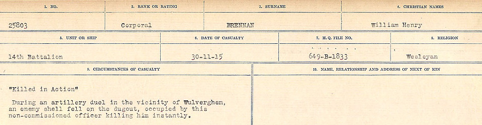 Circumstance of death– Source: Library and Archives Canada.  CIRCUMSTANCES OF DEATH REGISTERS FIRST WORLD WAR Surnames: Brabant to Britton. Mircoform Sequence 13; Volume Number 131829_B016722; Reference RG150, 1992-93/314, 157 Page 489 of 906