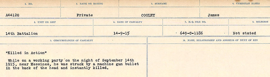 Circumstances of Death Registers– Source: Library and Archives Canada.  CIRCUMSTANCES OF DEATH REGISTERS, FIRST WORLD WAR Surnames:  CONNON TO CORBETT.  Microform Sequence 22; Volume Number 31829_B016731. Reference RG150, 1992-93/314, 166.  Page 441 of 818.