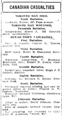 Newspaper clipping– In memory of the members of the 15th, 92nd and 134th Battalions (48th Highlanders) who went to war and did not return. Submitted by the 48th Highlanders Museum 73 Simcoe St. Toronto for the project, Operation: Picture Me.
