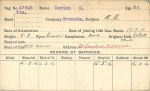 Photo of SIMEON DORION– Record of Service Card (front side).  Submitted by 15th Bn Memorial Project Team.  DILEAS GU BRATH