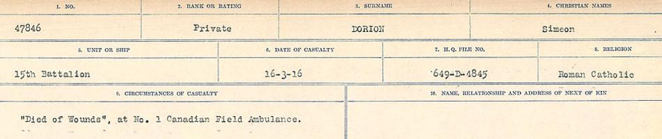 Circumstances of death registers– Source: Library and Archives Canada. CIRCUMSTANCES OF DEATH REGISTERS, FIRST WORLD WAR. Surnames: Don to Drzewiecki. Microform Sequence 29; Volume Number 31829_B016738. Reference RG150, 1992-93/314, 173. Page 279 of 1076.