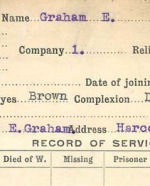 Record of Service– record of Service Card (front side).  Submitted by 15th Bn Memorial Project.  DILEAS GU BRATH