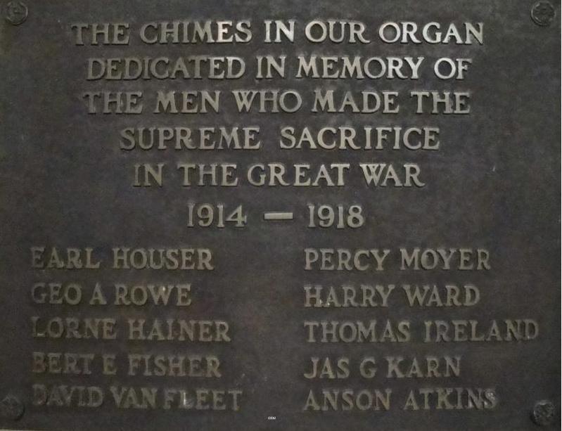 Memorial Plaque– Colborne Street Methodist Church Brantford