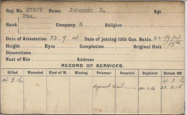 Grave marker– Record of Service Card (front side).  Submitted by 15th Bn Memorial Project Team.  DILEAS GU BRATH