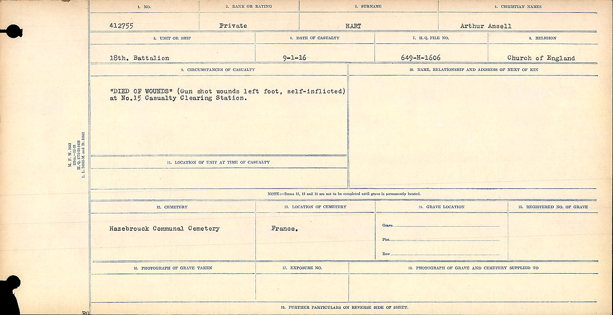 """Circumstances of Death Registers– Circumstances of Death Card: """"Died of Wounds"""" Self Inflicted, 15 Casualty Clearing Station. Contributed by E.Edwards www.18thbattalioncef.wordpress.com."""