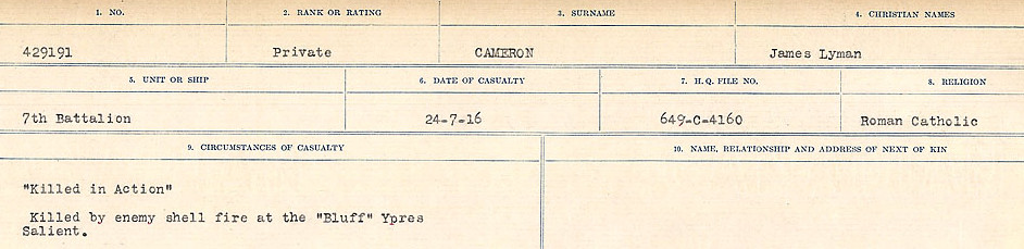 Circumstances of Death Registers– Source: Library and Archives Canada.  CIRCUMSTANCES OF DEATH REGISTERS, FIRST WORLD WAR Surnames:  Cabana to Campling. Microform Sequence 17; Volume Number 31829_B016726. Reference RG150, 1992-93/314, 161.  Page 439 of 1024.