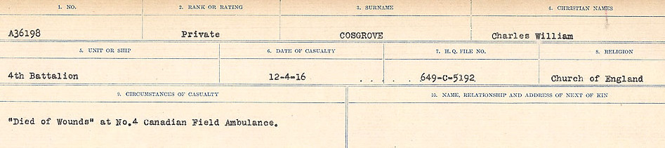 Circumstances of Death Registers– Source: Library and Archives Canada.  CIRCUMSTANCES OF DEATH REGISTERS, FIRST WORLD WAR Surnames:  CORBI TO COZNI.  Microform Sequence 23; Volume Number 31829_B016732. Reference RG150, 1992-93/314, 167.  Page 285 of 900.