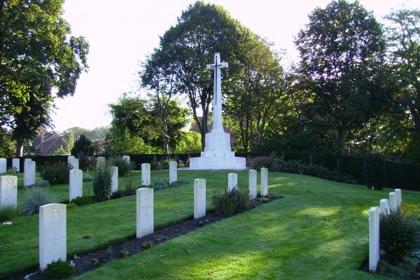 Cross of Sacrifice– Cross of Sacrifice … Ramparts Cemetery (Lille Gate) … photo courtesy of Marg Liessens