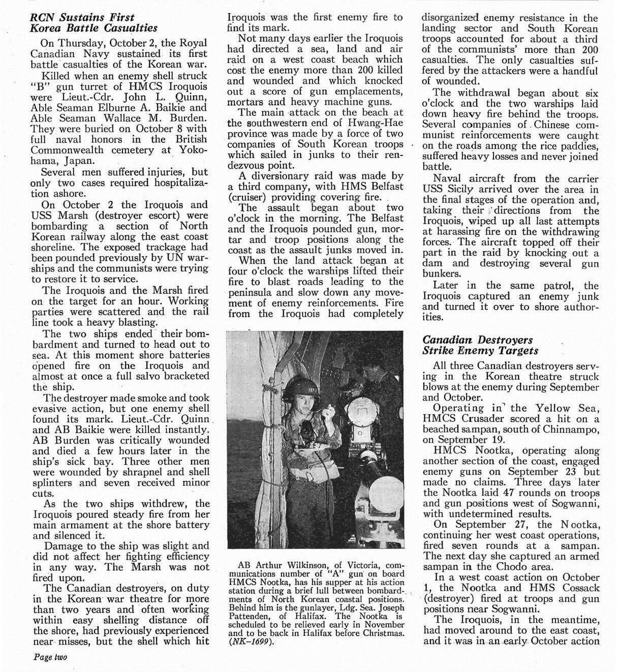 Newspaper Clipping– This news article, relating to the Royal Canadian Navy's first battle casualties of the Korean War, which casualties included AB Burden, appeared in the November 1952 issue (at page 2) of the Crowsnest, the Royal Canadian Navy's magazine.  (Submitted by Navy League Cadet Corps CHAMBLY, Barrie, Ontario.)