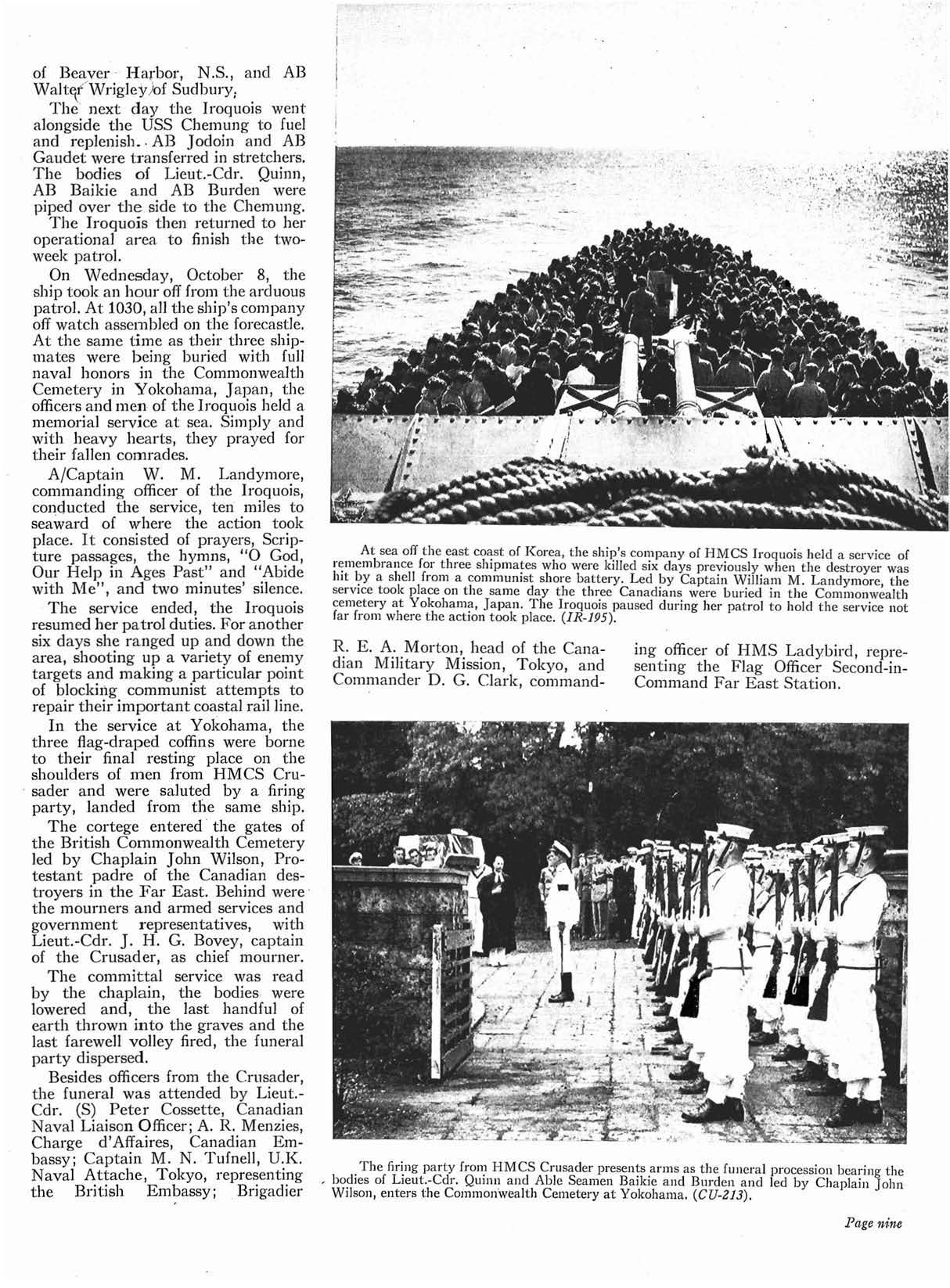 """Newspaper Clipping– This is a continuation of the article """"HMCS Iroquois - The Aftermath"""" in the December 1952 issue of the Crowsnest.  (Submitted by Navy League Cadet Corps CHAMBLY, Barrie, Ontario.)"""