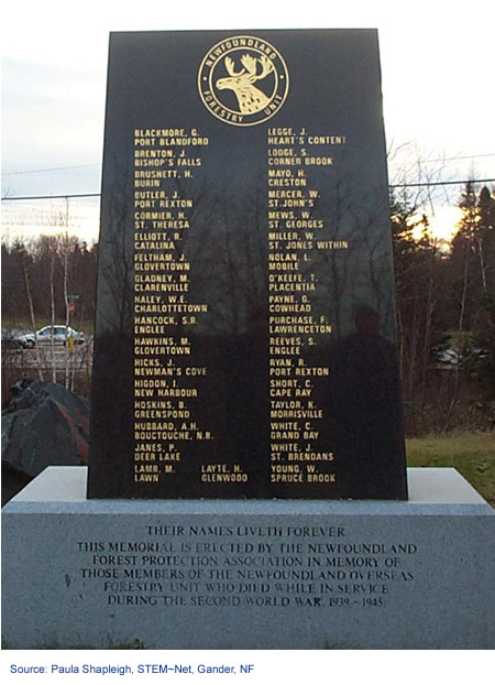 Newfoundland Forestry Unit's monument