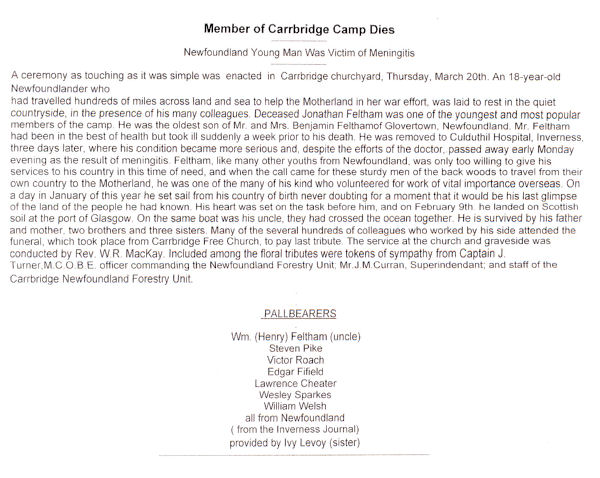 Funeral ceremony for Jonathon Feltham