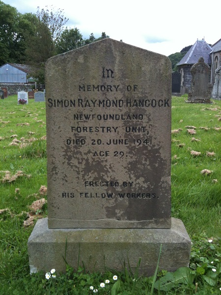 Grave marker– Gravestone of Simon Raymond Hancock in the kirkyard of Abbey St Bathans, Berwickshire, Scotland. Picture taken 17 June 2014.