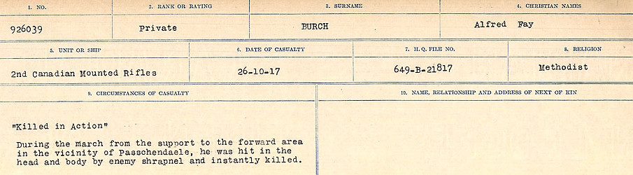 Circumstances of Death Registers– Source: Library and Archives Canada.  CIRCUMSTANCES OF DEATH REGISTERS, FIRST WORLD WAR Surnames:  Burbank to Bytheway. Microform Sequence 16; Volume Number 31829_B016725. Reference RG150, 1992-93/314, 160.  Page 15 of 926.
