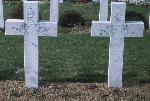 Gravestone of M. J.Zimmer– Grave marker (on the right side) for F/O MJ Zimmer at Choloy Cemetery. Photo taken in April 1975.  F/O Zimmer was the navigator in a CF-100 aircraft accident.  The pilot of the aircraft is buried to the left hand side.