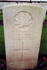 Grave Marker– A photograph of the headstone at the New Irish Farm Cemetery, just outside the town of Ieper (Ypres), Belgium. May he rest in peace. (J. Stephens)