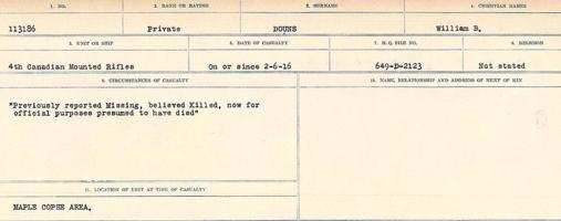 Circumstances of death registers– Source: Library and Archives Canada. CIRCUMSTANCES OF DEATH REGISTERS, FIRST WORLD WAR. Surnames: Don to Drzewiecki. Microform Sequence 29; Volume Number 31829_B016738. Reference RG150, 1992-93/314, 173. Page 553 of 1076.