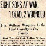 Press Clipping 2– Article about the Wingrove family's contribution to the war effort.