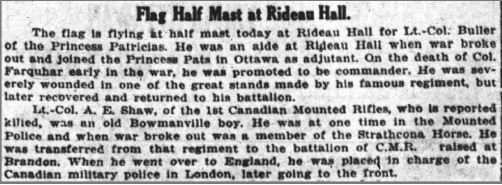Newspaper Clipping– Ottawa Journal (June 5, 1916)