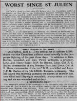 Newspaper Clipping– The Calgary Herald June 5, 1916 The official list dated June 5, 1916 gives the name of Lieut. Col. Buller along with 12 other officers killed, 58 wounded and 27 missing in the battle between Ypres and Hooge on June 2nd and 3rd.
