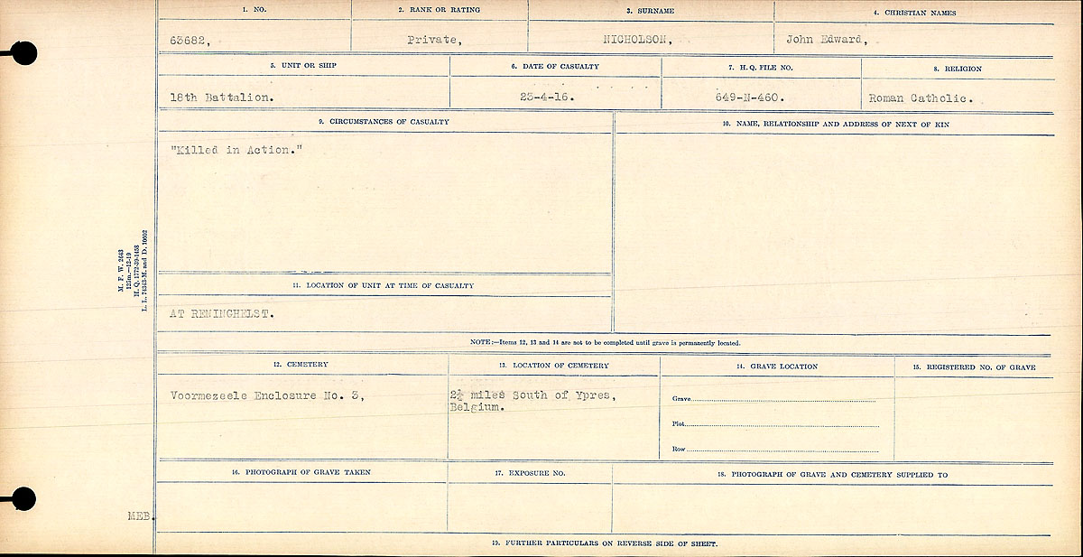 """Circumstances of Death Registers– Circumstances of Death Registration: """"Killed in Action."""""""