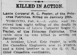 Newspaper clipping– From the London Free Press Feb. 1915. Submitted for the project Operation Picture Me