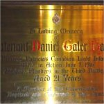 Memorial Plaque– Memorial Plaque for Lt. Daniel Galer Hagarty.  Located in The Church of the Redeemer (Anglican) at 162 Bloor Street West, Toronto, Ontario.