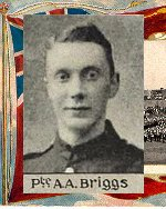 """Photo of Albert Briggs– Caption (pg. 377):  Soldiers of Peel Who Lost Their Lives During the Great War.  Author - William Perkins Bull. """"From Brock to Currie: the military development and exploits of Canadians in general and of the men of Peel in particular, 1791 to 1930.""""  Toronto, 1935."""