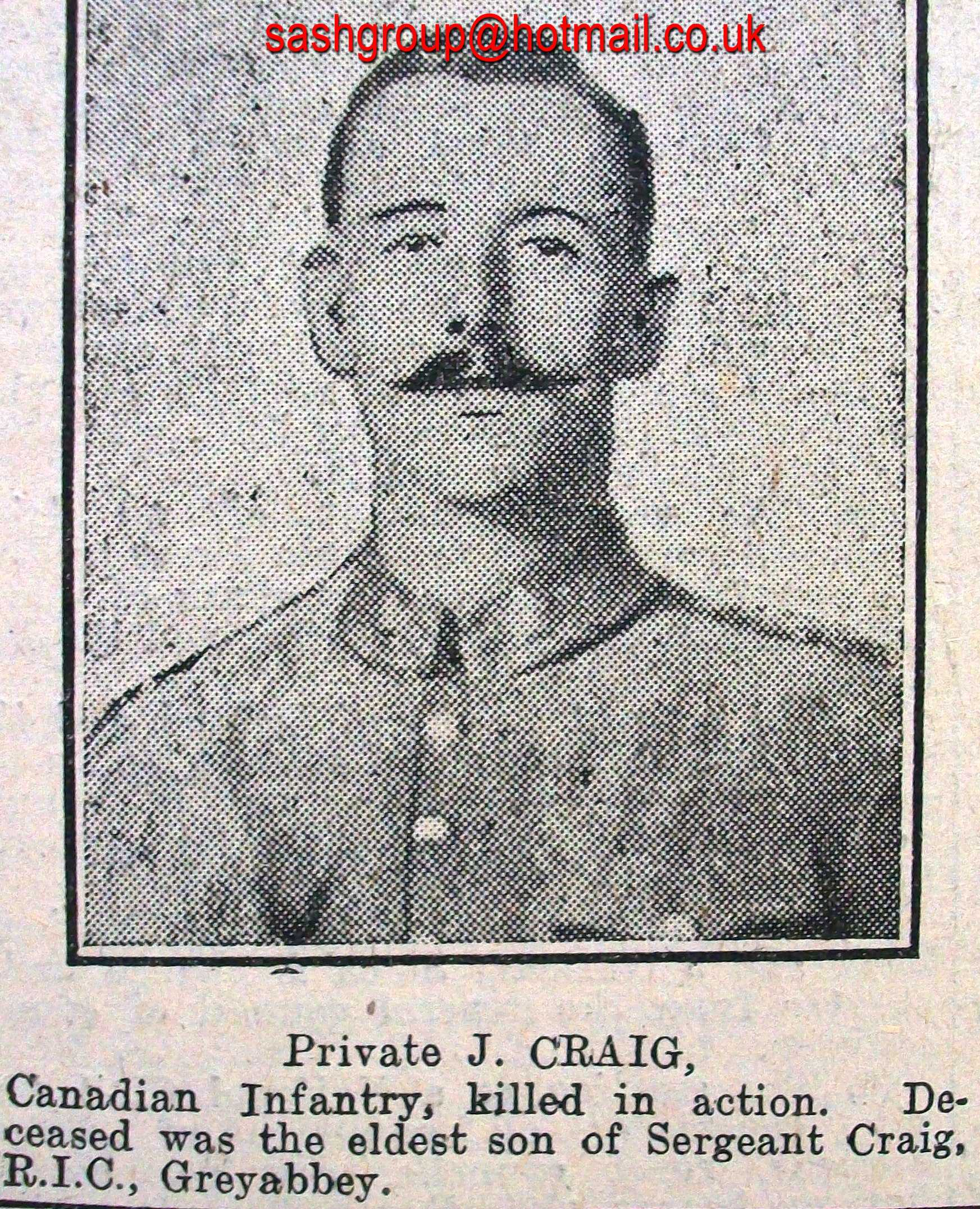 Newspaper clipping– James Craig, Amongst His Brothers In Arms. Lest We Forget.