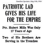 Coupure de presse 2 – Extrait du Hamilton Spectator du 11 mai, 1916.
