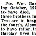 Press Clipping– Pte. Barclay was born in Aberdeenshire, Scotland.