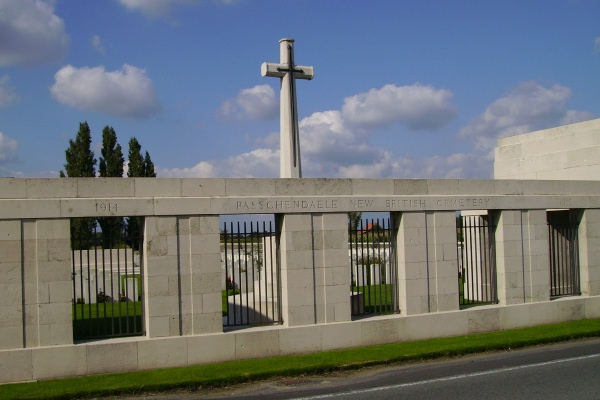 Cemetery Entrance– Entrance … Passchendaele New British Cemetery … photo courtesy of Marg Liessens