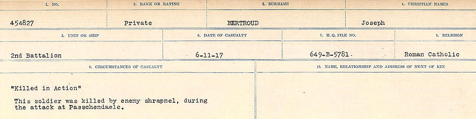 Circumstances of Death Registers– Source: Library and Archives Canada.  CIRCUMSTANCES OF DEATH REGISTERS FIRST WORLD WAR Surnames: Bernard to Binyon. Mircoform Sequence 9; Volume Number 31829_B016719; Reference RG150, 1992-93/314, 153 Page 193 of 652