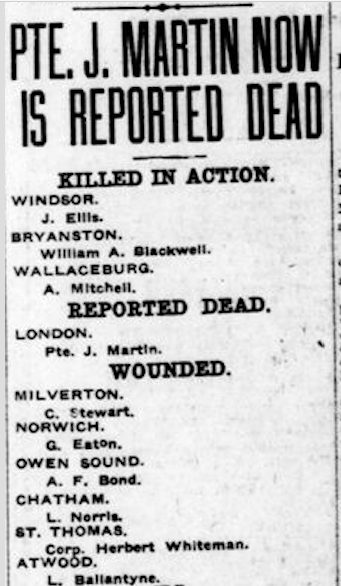 Newspaper clipping– From the London Free Press December 1917. Submitted for the project Operation Picture Me