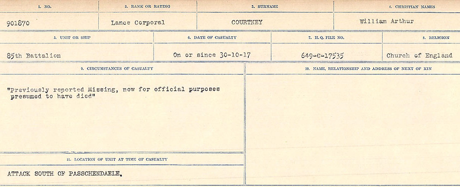 Circumstances of Death Registers– Source: Library and Archives Canada.  CIRCUMSTANCES OF DEATH REGISTERS, FIRST WORLD WAR Surnames:  CORBI to COZNI.  Microform Sequence 23; Volume Number 31829_B016732. Reference RG150, 1992-93/314, 167.  Page 559 of 900.