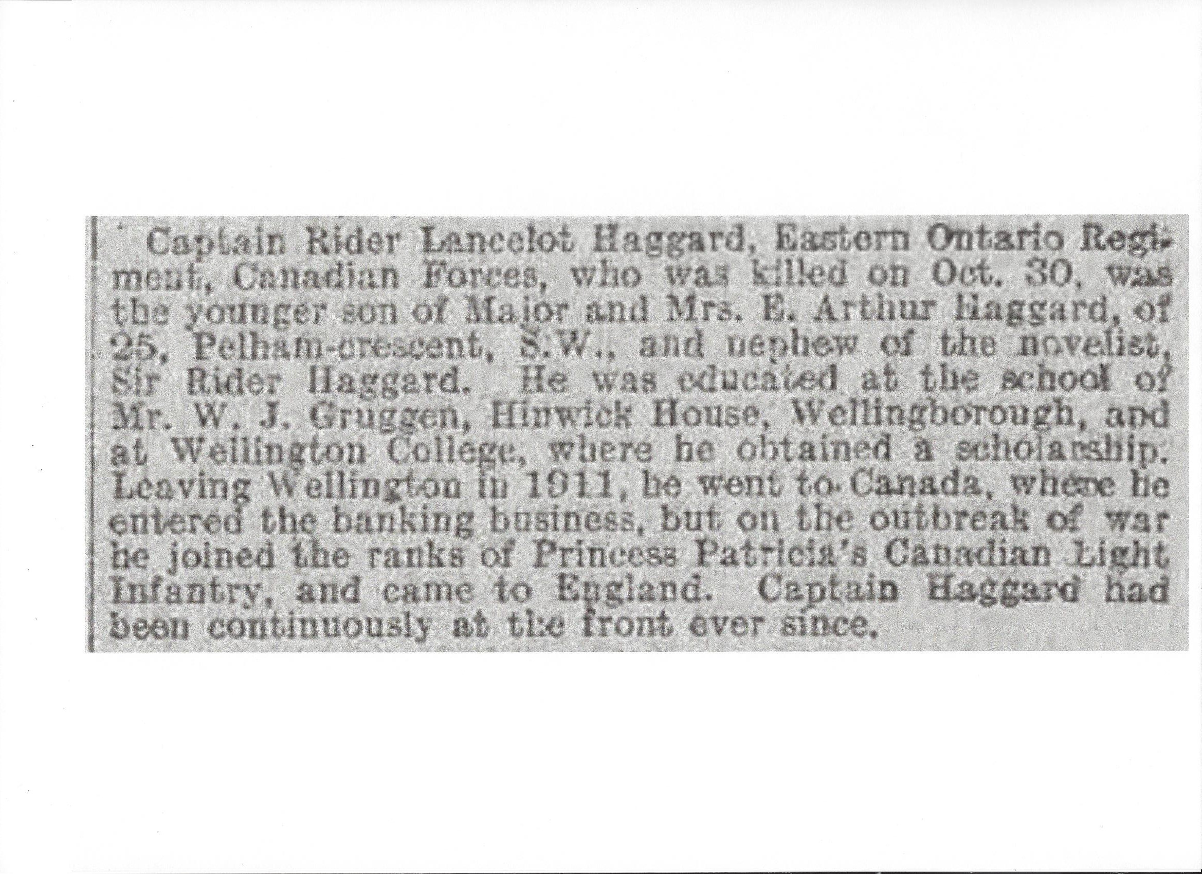 Newspaper clipping– Newspaper clipping from the Daily Telegraph of November 8, 1917. Image taken from web address of http://www.telegraph.co.uk/news/ww1-archive/12214929/Daily-Telegraph-November-8-1917.html