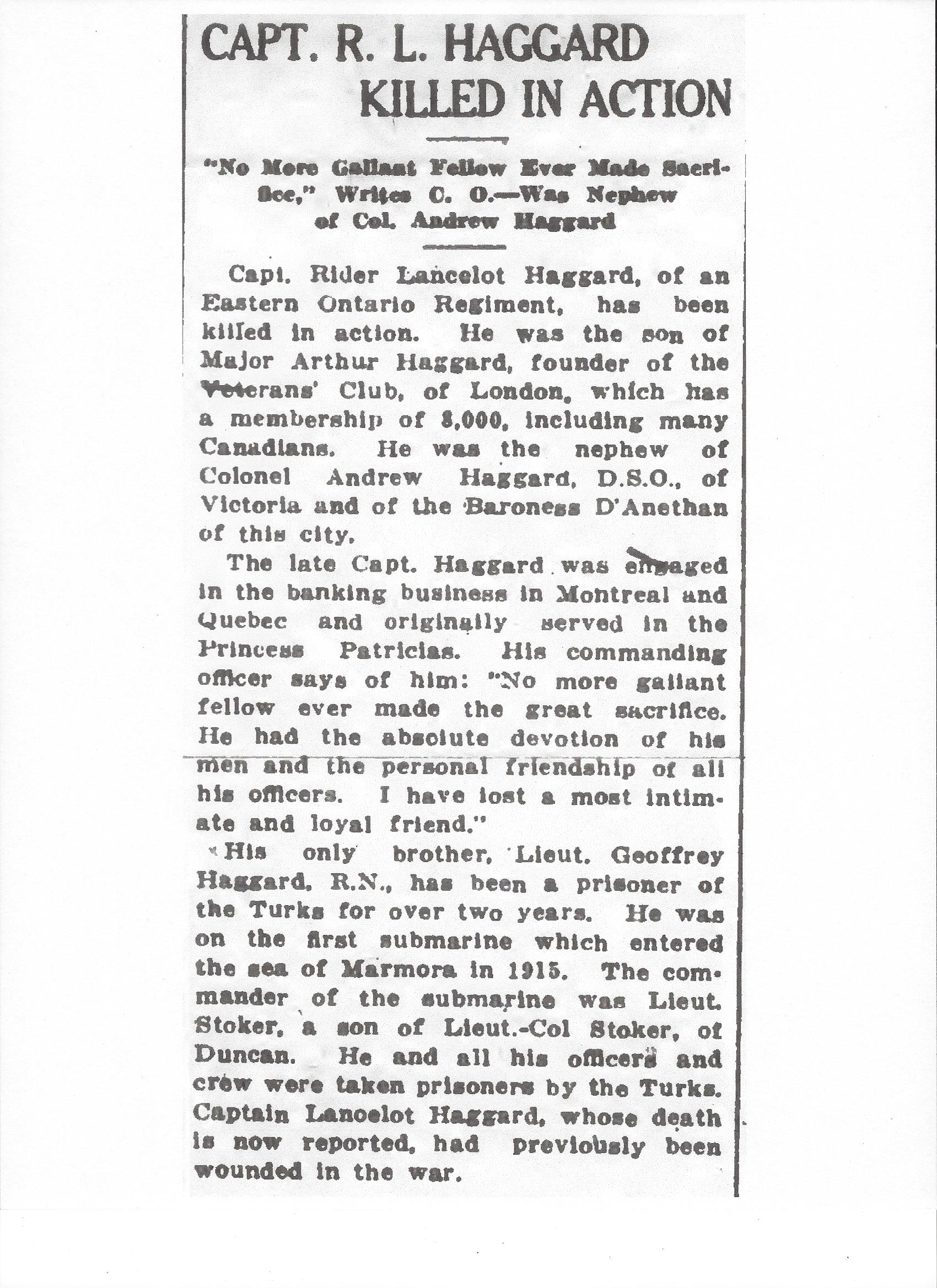 Newspaper clipping– Newspaper clipping from the Daily Colonist of November 15, 1917. Image taken from web address of http://archive.org/stream/dailycolonist59y293uvic#page/n0/mode/1up