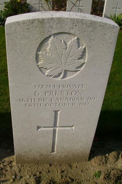 Pierre Tombale – Grave marker … Passchendaele New British Cemetery … photo courtesy of Marg Liessens