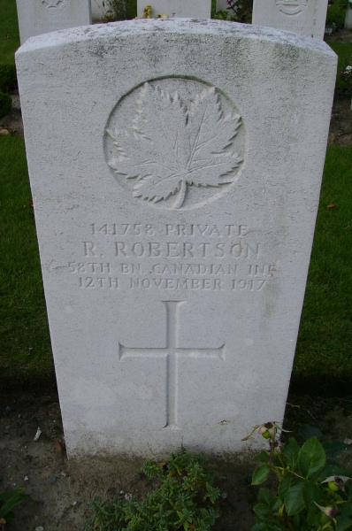 Grave Marker– Passchendaele New British Cemetery … photo courtesy of Marg Liessens