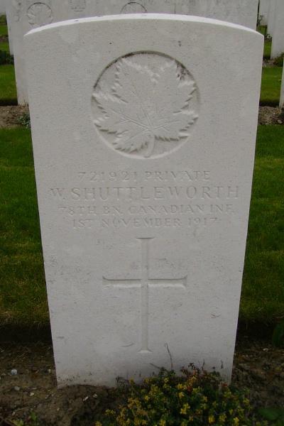 Grave Marker– Grave marker … Passchendale New British Cemetery … photo courtesy of Marg Liessens