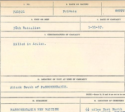 Circumstances of death registers– Private West Shuttleworth