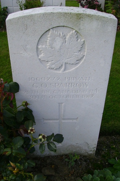 Grave Marker– Grave marker … Passchendaele New British Cemetery … photo courtesy of Marg Liessens