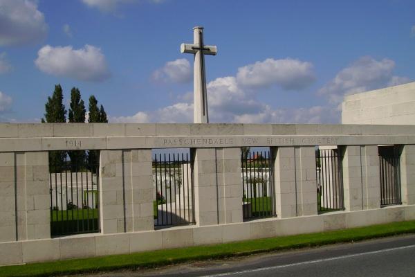 Entrance– Passchendaele New British Cemetery … photo courtesy of Marg Liessens